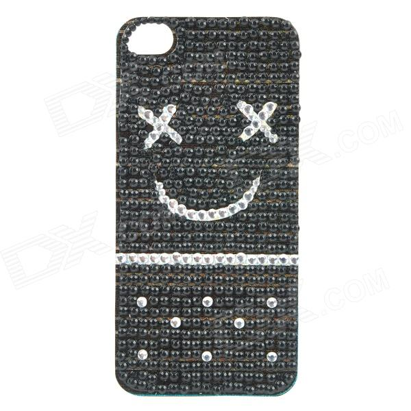 Cute Rhinestone Smile Face Back Sticker for Iphone 4 / 4S - Black + Silver