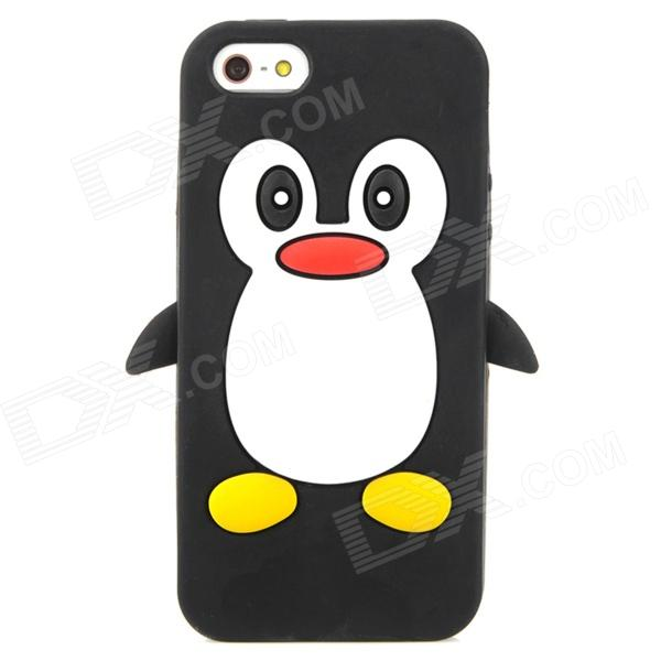 Penguin Style Protective Soft Silicone Back Case for Iphone 5 - Black + White + Red + Yellow protective silicone soft back case cover for iphone 5 white