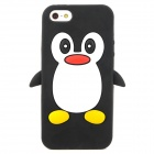 Penguin Style Protective Soft Silicone Back Case for Iphone 5 - Black + White + Red + Yellow