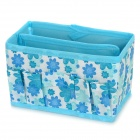 Flower Pattern Foldable Cosmetic Storage Box - Blue + White