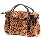 JUST STAR 170538-21 Leopard Pattern Horse Hair Style Women's Hand / Shoulder Bag - Light Apricot
