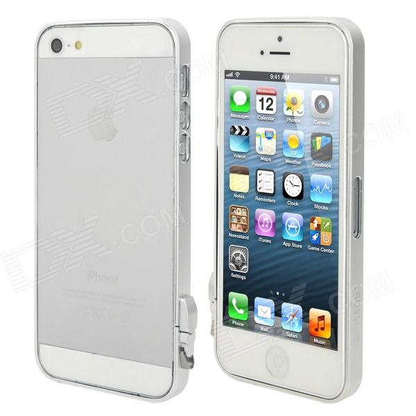 Stylish Aluminum Alloy Bumper Frame w/ Stylus for iPhone 5 - Silver