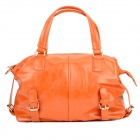 JUST STAR 170600-33 Casual PU Water Resistant Hand / Aslant Bag w/ Strap for Woman - Orange