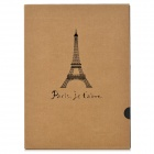 Q340 Eiffel Tower Pattern Retro Kraft Paper DIY Adhesive Album - Black + Grey