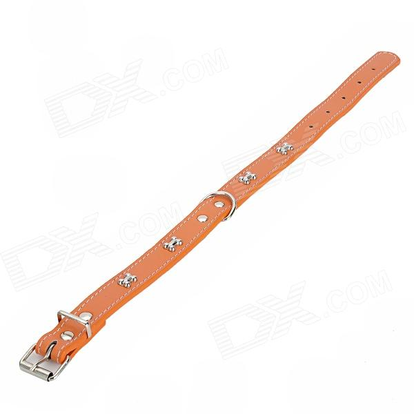 GQ_01 Adjustable Dog Bone Rivets Plastic Dog Collar Belt - Orange + Silver
