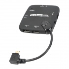 CY GT-037-LE Angled Micro USB 4-Port USB Hub + Card Reader for Samsung Galaxy S2 + More - Black