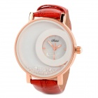 Casual PU Band Analog Quartz Waterproof Wrist Watch - Red + White + Rose Golden (1 x 377)