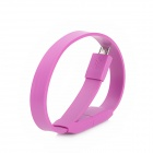 HY-012 Bracelet Style USB Male to Micro USB Female Data Flat Cable - Purple (25cm)