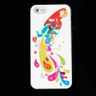 Parrot Rhinestone Pattern Plastic Case + Screen Sticker for Iphone 5 - Colorful