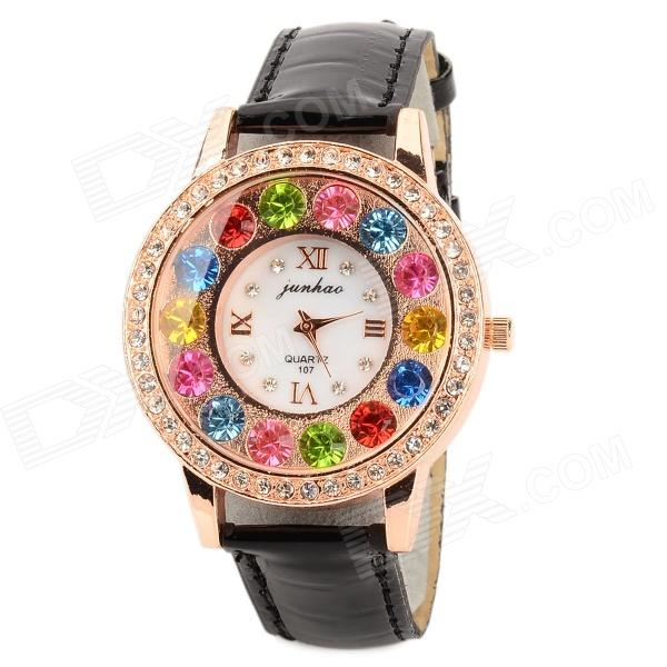 Colorful Rhinestone Studded Dial PU Band Quartz Analog Wrist Watch for Women - Black + Golden