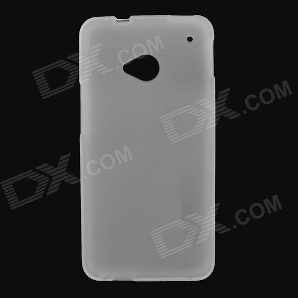 Stylish Protective Frosted PVC Back Case for HTC One M7 - White protective pvc back case for htc one x s720e white