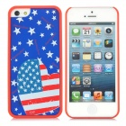 ZEAUS1 Protective US Flag Pattern Case for iPhone 5 - Blue + Red