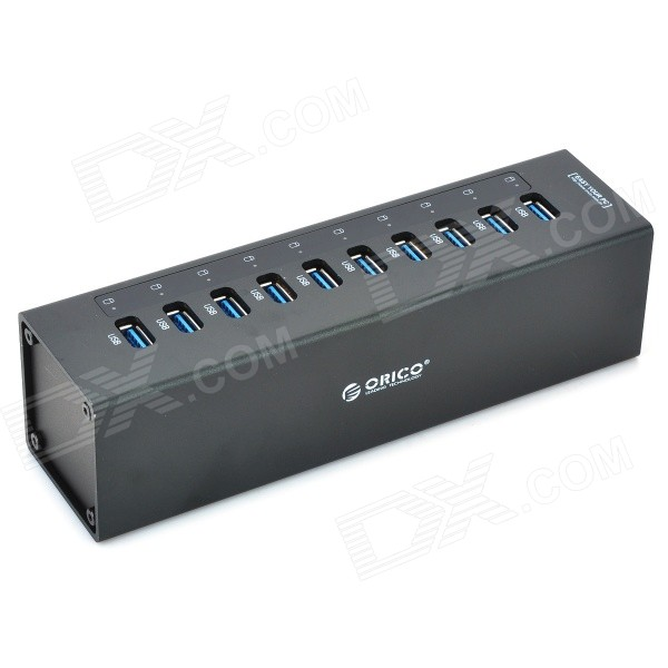 ORICO A3H10 5.0Gbps 10-Port USB 3.0 Hub w/ Switch / LED Indicator / US Plugs Power Adapter - Black