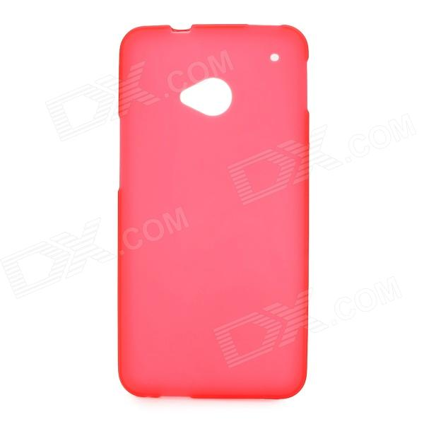 Stylish Protective Frosted PVC Back Case for HTC One M7 - Red protective soft pvc back case for htc sensation xl x315e g21 red