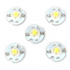 JR-16MM-W 1W 100lm 6300K 5-LED White Light LED Lamp w/ Aluminum PCB - Silver + White (5 PCS)