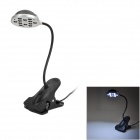 HK-L3016C USB Powered 12-LED White Light Flexible Neck Lamp w/ Clip / Switch - Black (90cm-Cable)