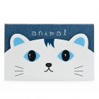 K520-1 Cute Cat Pattern Memo Pad Note Paper - Blue + White + Black
