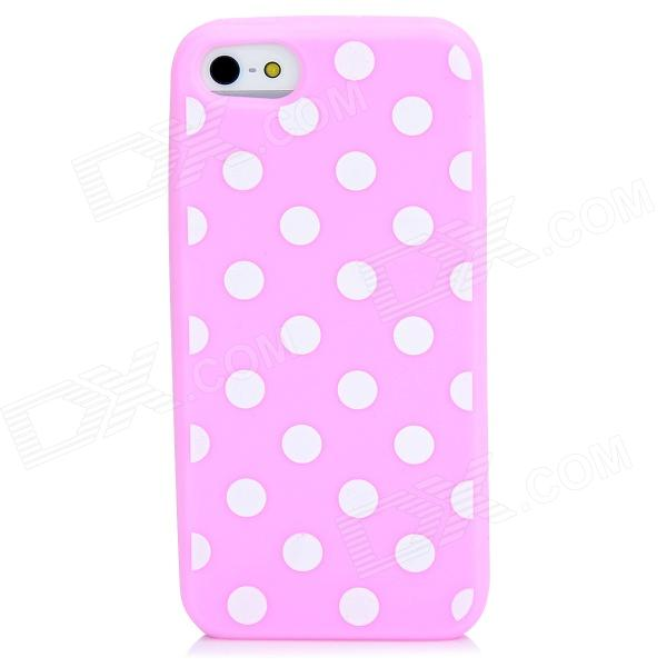 Protective Polka Dots Pattern Silicone Back Case for Iphone 5 - Pink cartoon pattern matte protective abs back case for iphone 4 4s deep pink