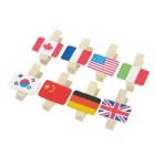 Country Flag Pattern Paper Photo Note Clips w/ Strap - Wood
