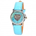 Fashion Lady's PU Band Analog Mechanical Self-Winding Skeleton Waterproof Wrist Watch - Blue