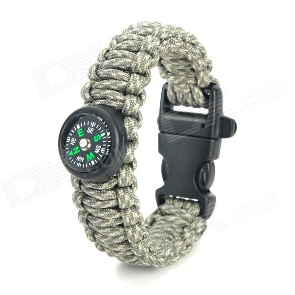Bracelet Buckle Outdoor Emergency Weave Survival Rope Compass - Black + Grey