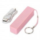 KABO A5 2600mAh Portable Power Bank w/ Strap for Iphone 5 + HTC + Samsung - Pink