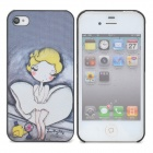 Protective Cartoon Monroe Pattern Back Case for Iphone 4 / 4S - Black + White + Yellow