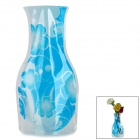 Flower Pattern Romantic Foldable PVC Flower Vase - Blue + Transparent (Large-Size)