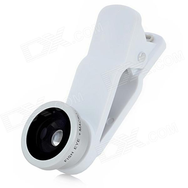 Clip-On Fisheye + Macro Lens Set for Iphone 4 / 4S / 5 / Ipad / Samsung / HTC - Silver + White