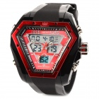 Multi-Function Rubber Band Analog + Digital Quartz Waterproof Wrist Watch - Black + Red (1 x SR44SW)