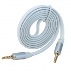 3.5mm Plug to 3.5mm Plug Flat Audio Connection Cable - White (100cm)