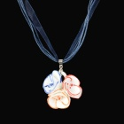 Three Flower Style Ceramic Necklace for Women - Red + Blue