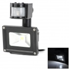 JR-10W-GY-W 6500K 800lm 10W LED White Light IR Induction Project Lamp - Black (AC 85~265V)