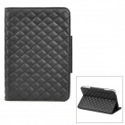 Rhombus Pattern Protective PU Leather Case w/ Stand for Ipad MINI - Black