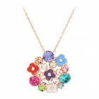 KCCHSTAR BK-0200 Women's Zinc Alloy Chain Flower Style Crystal + Artificial Diamond Pendant Necklace