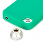 T-22W Protective Silicone Back Case w/ 2X Fish-Eye Lens for Iphone 4 / 4S - Green