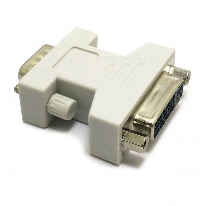DVI 24+5 Female to VGA Male Adapter - Light Grey