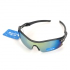 SENLAN 8811 Stylish UV400 Protection Acetate Fiber Frame PC Lens Sunglasses - Black + Revo Blue