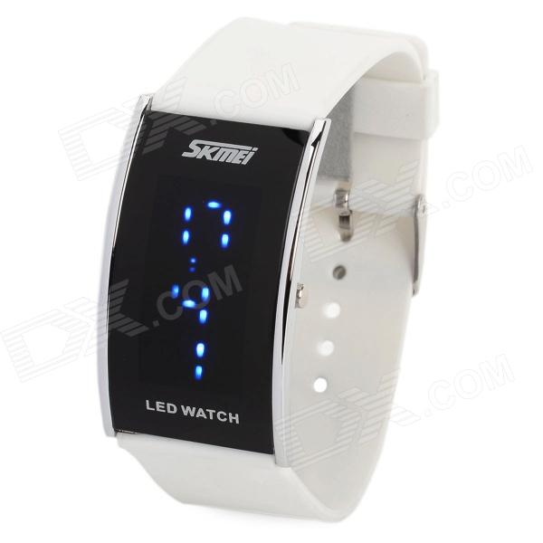 SKMEI 0805 Fashion Rectangle Shaped LED Wrist Watch - White (2 x CR2025) new fashion digital room programmable heating thermostat for water heating system large lcd display whole sale m75 03