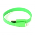 USB Male to 8pin Lightning Male Data + Charging Flat Cable for iPhone 5 / iPAD 4 - Green (22.4cm)