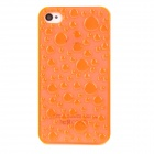 3D Water Drop Design Protective Plastic Back Case for Iphone 4 / 4S - Transparent Light Orange