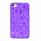 Unique 3D Water Drop Pattern Plastic Back Case for iPhone 4 - Transparent Purple