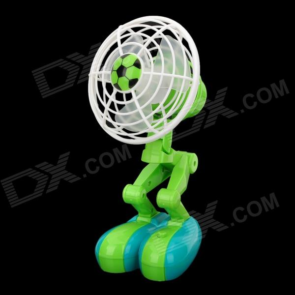 L800 Cute Robot Football Style USB Power Fan - Green + White + Blue