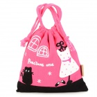 Portable Princess Pattern Drawstring Pouch Storage Bag - Deep Pink + Black