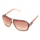 SENLAN 1166 Retro UV400 Protection Acetate Fiber Frame PC Lens Sunglasses - Translucent Tan