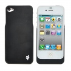 WPC_Qi Standard Wireless Charger Receiver Back Case for iPhone 4 / 4S - Black