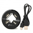 B-4USB Round Shape High Speed 480Mbps 4-Power USB 2.0 Hub - Black