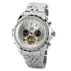 ORKINA KC082 Stainless Steel Mechanical Self-winding Analog Men's Wrist Watch w/ Calendar - Silver