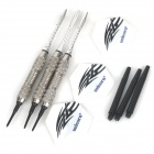 High Quality Iron Nickel-Plated Grilled Black Lacquer Soft Darts - Silver + Black (3 PCS)