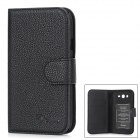 Alis Protective PU + Plastic Flip-open Case for Samsung i9082 - Black